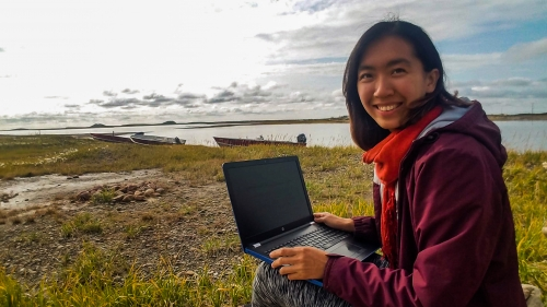 Super Mei Travel Digital Nomad Life working by the Arctic Ocean