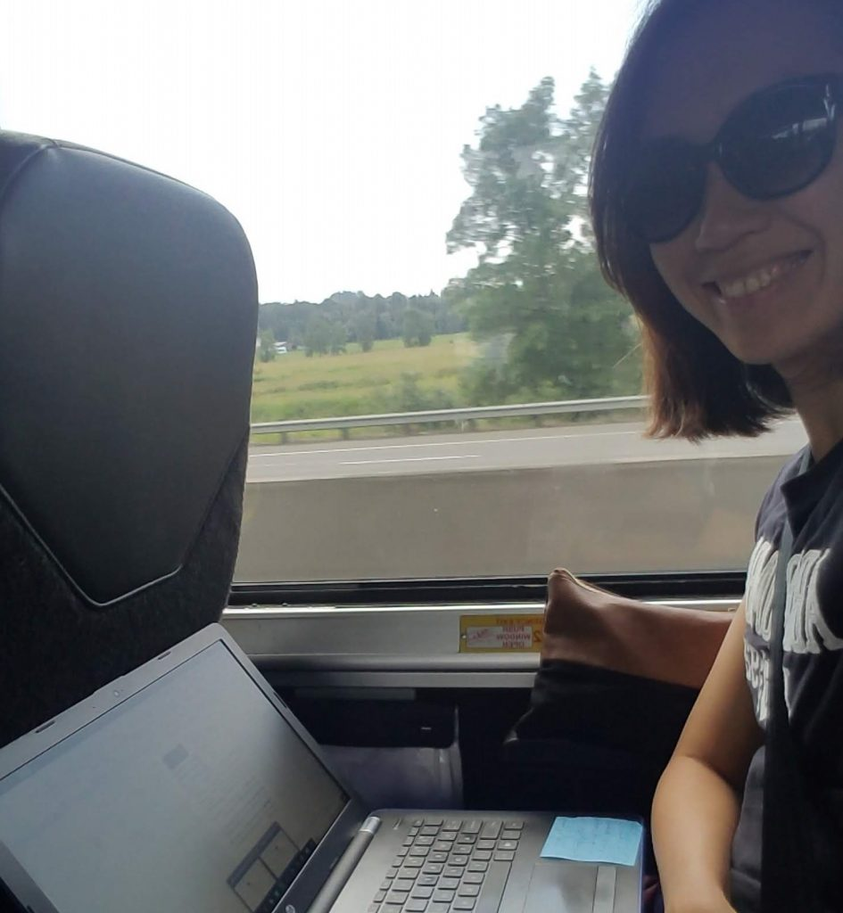 digital nomad work and travel on a bus