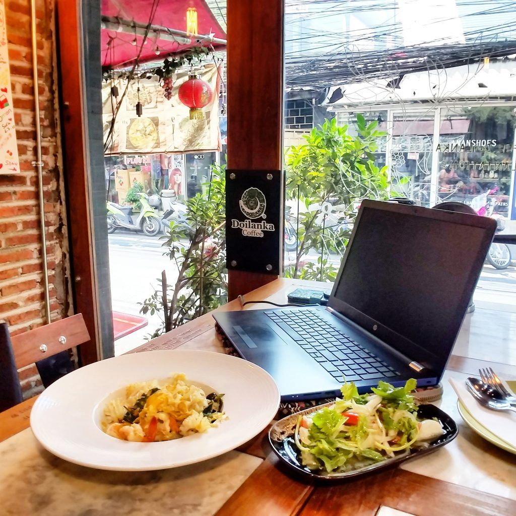 working in a cafe restaurant in Thailand Bangkok