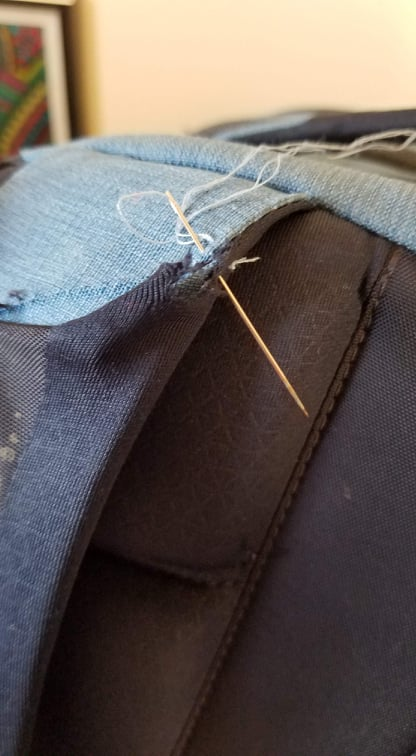 reuse 物盡其用 sewing up my backpack
